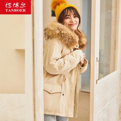 坦博爾工裝羽絨服2019女裝外套上衣冬季短款大毛領羽絨服女裝TD19132