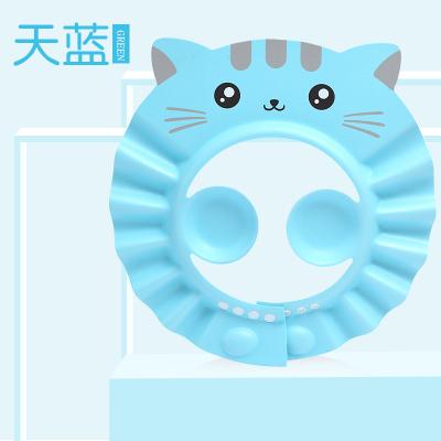 寶寶洗頭神器嬰兒童防水護耳小孩洗澡淋浴幼兒洗頭發浴帽子可調節 藍色+加長條 可調節