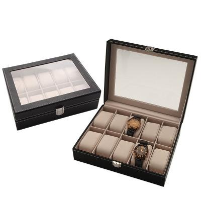 十座位pu手表包裝盒 絨布手表包裝禮品盒 10格皮革手表收納盒 黑色