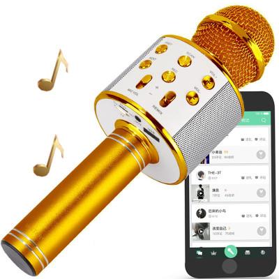 启融 手机麦克风 蓝牙麦克风话筒手机声卡K歌套装唱吧快手直播喊麦安卓台式机电脑设备通用无线麦(玫瑰金)