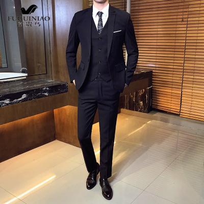 富貴鳥(FUGUINIAO)男士西服套裝三件套中青年韓版新郎結婚正裝單西外套修身小西裝男