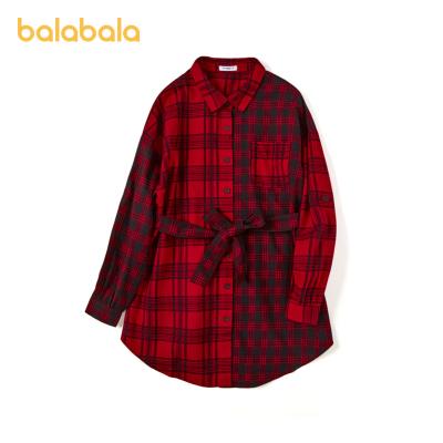 巴拉巴拉兒童襯衫2020新款秋裝童裝女童長袖襯衣中大童經典格紋潮