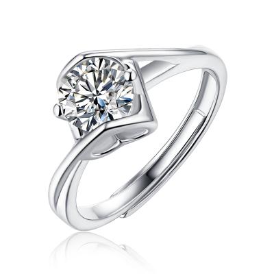 阿瑪莎天使之吻表白禮物送女友莫桑石戒指女純銀鉆戒求婚結婚 1克拉 D色 VVS1 3EX