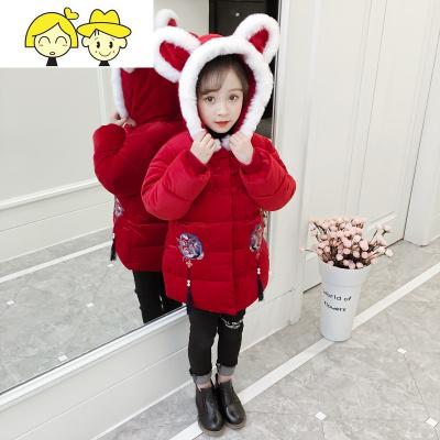 2019拜年服女童棉衣唐装加厚棉袄冬季儿童新年衣服中国风童装红色  绿彩虹光
