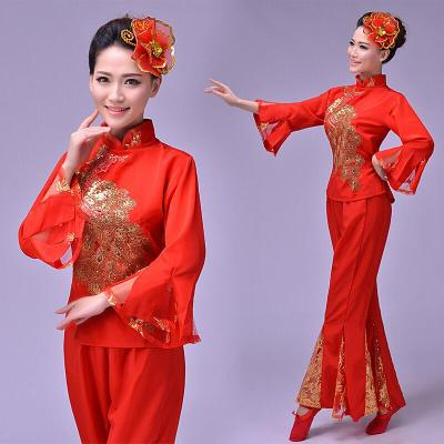東北民族舞蹈秧歌服裝女扇子舞腰鼓廣場舞打鼓演出服 紅色