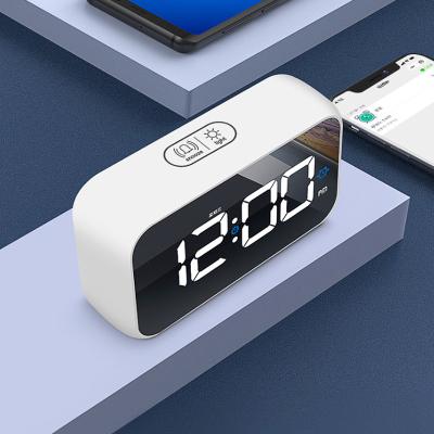北極星(POLARIS)智能鋰電聲控電子鬧鐘多功能藍牙音樂時鐘LED鏡面創意時尚靜音學生臥室鐘表兒童可愛鬧鈴鬧表