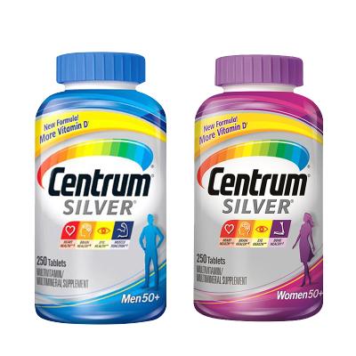 【送爸媽】美國進口善存(CENTRUM)銀片中老年多種復合維生素片礦物質 善存片275粒*2男女善存組合