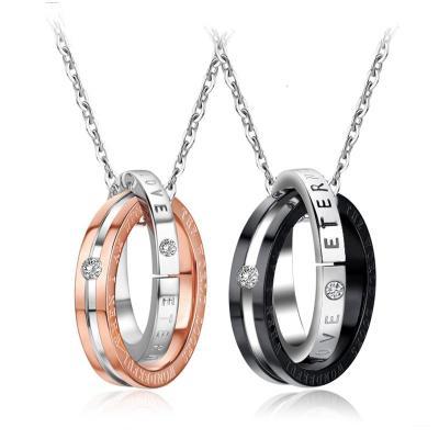 戒指钛钢项链可刻字韩版指环吊坠男士个性挂坠女潮人学生情侣一对可刻字