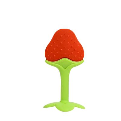 宝宝磨牙棒婴儿i水果软牙胶纯硅胶咬咬胶3-12个月玩具天然无毒 草莓