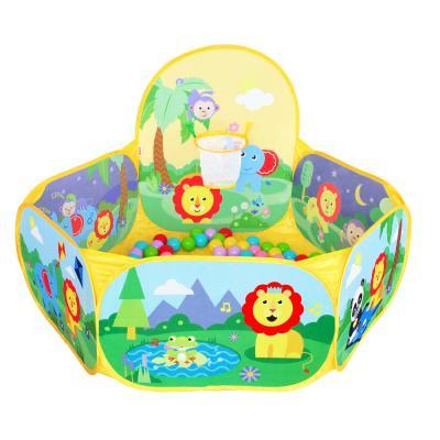 費雪(Fisher Price)兒童海洋球池 布制投籃海洋球池 球池游戲圍欄(配25個費雪海洋球)F0315