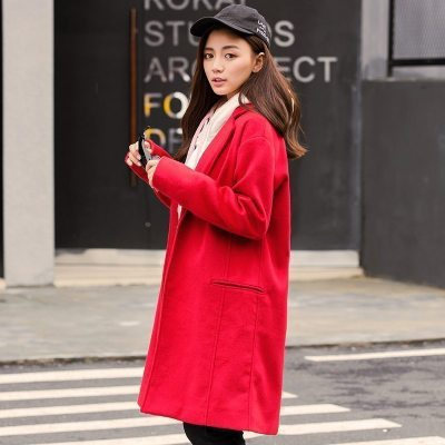 【2件1折價99.9元】唐獅冬新款毛呢外套女呢子中長款大衣女大紅色韓版修身加厚潮