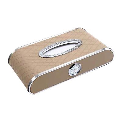 (米色+停車牌+時鐘)ZHUAX汽車紙巾盒車載抽紙盒車用車內金屬餐巾紙皮革創意個性擺件扶手箱座式高檔鐘表網紅抖音同款