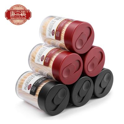 唐宗筷 2罐1000支 牙簽 黑+紅簡約2罐裝牙簽 家用竹牙簽 C6229