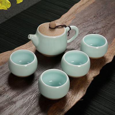 龙泉青瓷/定窑一壶四杯陶瓷便携布袋旅行功夫茶具礼品套装