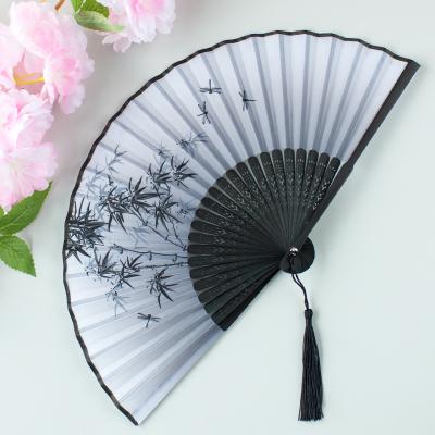 扇子折扇中國風舞蹈扇女夏季折疊扇古裝兒童小復古布古典古風折扇 15青竹墨