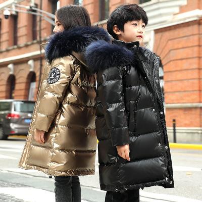 TOGOLUNE儿童羽绒服中长款2019冬季新款男女童大毛领童装亲子外套一件代发