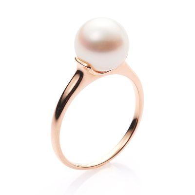緣源珠寶天然淡水珍珠戒指女18K玫瑰金鑲嵌簡約時尚支持定制