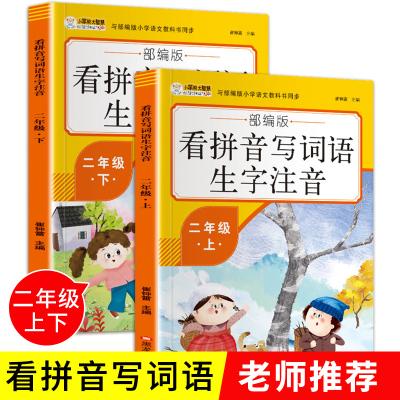 看拼音寫詞語二年級生字注音 小學生2年級上下冊套裝全2冊 語文課堂專項同步訓練 拼音練寫冊 看拼音寫詞語