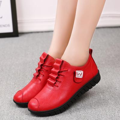 楚绮灵 春秋妈妈鞋软底单鞋防滑平底孕妇鞋子中老年皮鞋大码女鞋