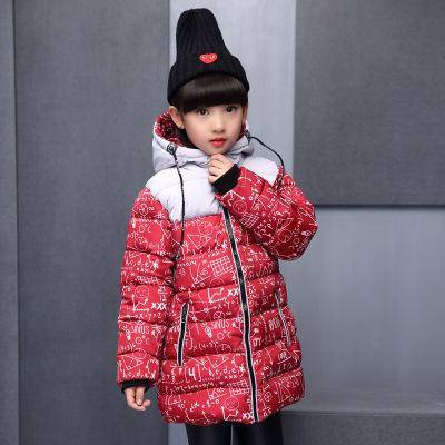 韓版兒童冬裝中長款加厚棉襖寶寶秋冬季個性潮流街頭棉服女童印花數學公式棉衣戶外百搭保暖外套
