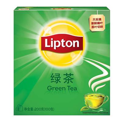 立顿Lipton 绿茶叶 办公室下午茶 袋泡茶包 2g*100包(新老包装随机发货)