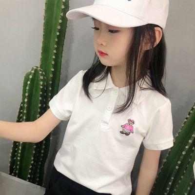 兒童2020夏裝新款女童短袖t恤學生POLO衫寶寶夏季童裝小熊短T翻領 臻依緣