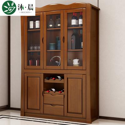 沐晨 酒柜 实木酒柜 现代中式储物柜餐边柜多功能靠墙收纳柜茶水碗柜餐厅木质玄关柜置物架组合柜
