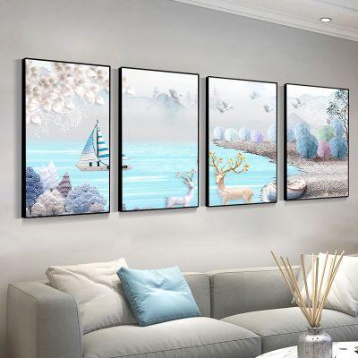 藤印象客廳裝飾畫新中式裝飾畫四聯畫現代簡約沙發背景墻家和萬事興掛畫 麋鹿 40*60/【水晶膜】