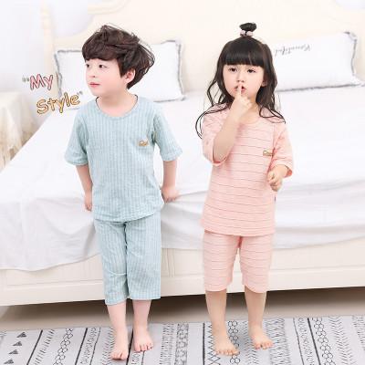 2019新款兒童睡衣薄款男童短袖衣服夏季寶寶家居服女童空調服居家套裝 衫伊格(shanyige)