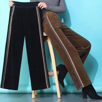 追記 棉燈芯絨闊腿褲女2020秋冬新款高腰寬松墜感直筒長褲休閑褲