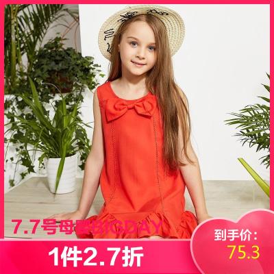 【1件2.7折:75.3】米喜迪mecity童裝女童蝴蝶結禮服連衣裙夏裝新款