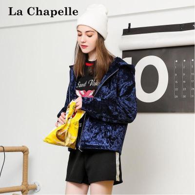 拉夏貝爾Puella金絲絨棉衣短款棉服女面包服外套寬松襖子20011087