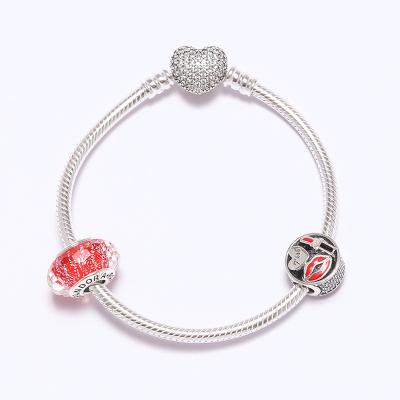 PANDORA潘多拉 紅色琉璃魅力之吻925銀手鏈串飾 紅色