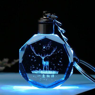 瑞仕茲 DIY定制3D水晶情侶鑰匙扣生日女生閨蜜情侶男朋友定制鑰匙扣有紀念意義的實用創意走心情人節水晶座發光小掛飾禮品