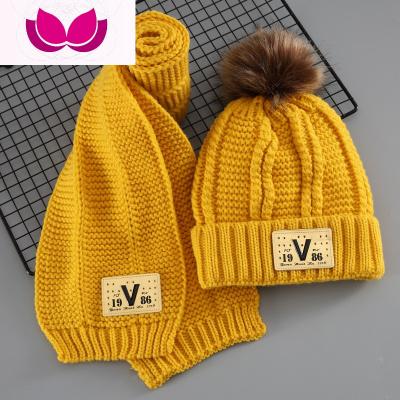 儿童帽子秋冬季男童毛线帽加绒女童两件套围巾2-4-6-8岁小孩冬天