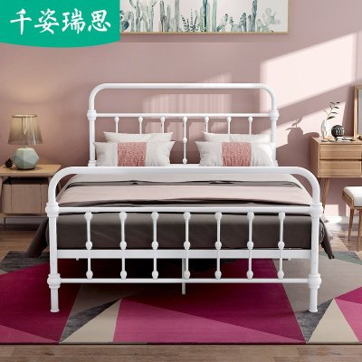 北欧铁艺床双人1.5米现代简约出租房铁床公寓单人1.2m公主铁架床