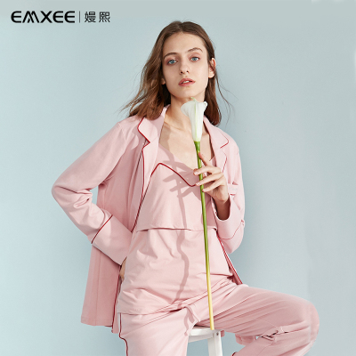 嫚熙(EMXEE) 月子服春夏款孕婦睡衣產后家居服純棉吸汗三件套孕婦哺乳睡衣