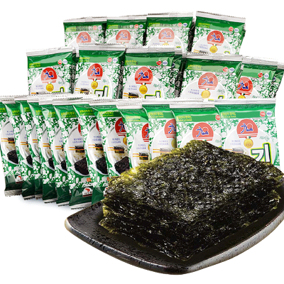 韓國進口 九日迷你海苔 休閑零食原味即食海苔16g*5包