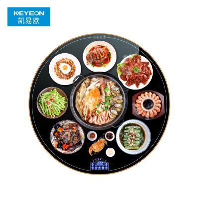 Keyeon/凱易歐圓形飯菜保溫板家用暖菜板熱菜板保溫板墊加熱餐桌熱菜神器旋轉圓形80cm手動旋轉
