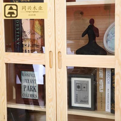 杞沐實木書柜帶玻璃兒童松木書架原木書櫥實木收納大置物架