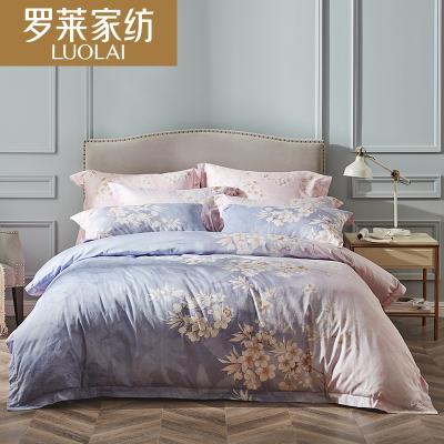罗莱家纺床上四件套贡缎纹纯棉被套1.8m床全棉双人床单贡缎床品印花晨暮间