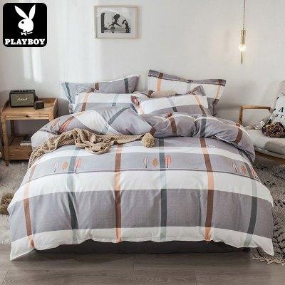 花花公子(PLAYBOY) 床上用品簡約風磨毛棉四件套斜紋床單被套1.2/1.5/1.8m米床品套件兒童學生宿舍四季通用