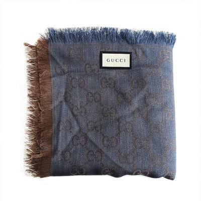 【正品二手99新】古馳(GUCCI)藍灰色雙G印花披肩圍巾 281942 80%羊毛20%桑蠶絲 含盒