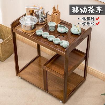枳記家可移動沙發邊幾角幾小茶幾實木客廳泡茶桌邊柜茶臺茶水架置物架子