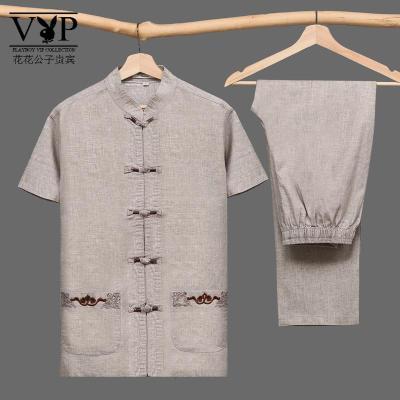 花花公子貴賓M-7XL中國風中老年唐裝男短袖棉麻套裝加肥大碼爸爸裝款