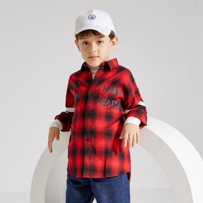【1件3折价:64.8】米喜迪mecity童装19新男童衬衫秋装格子字母印花长袖