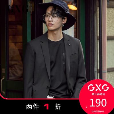 【兩件1折:190】GXG男士 春季休閑時尚潮流商場同款黑色西裝#181113102(上裝)