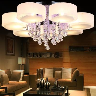 闪电客客厅灯简约现代LED卧室家用圆形水晶灯餐厅三头吊灯套餐吸顶灯具 如梦令6头升级版12瓦七色