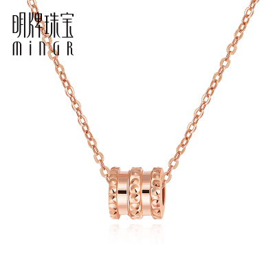 明牌珠寶18K金項鏈 彩金玫瑰金圓筒套鏈氣質小蠻腰時尚女CSR0092定價