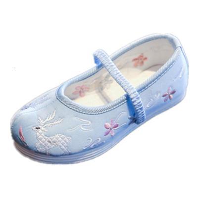 兒童繡花鞋古代唐裝女童布鞋翹頭弓鞋古裝漢服表演鞋子中國風